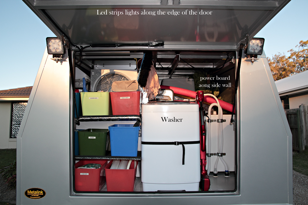 In The Canopy We Also Carry Ensuite Tent Recovery Gear Awning Canvas For Trailer Pantry And Kitchen Items Tools Hoses Fan Table Chairs Ladder